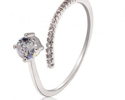 Bague fine argent et diamant ajustable