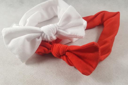 Bandeau bebe fille rouge et blanc