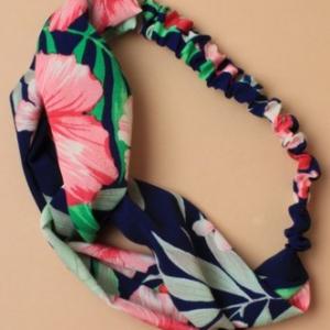 Bandeau imprime floral marine