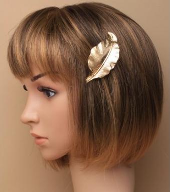 Barrette cheveux femme dore feuille
