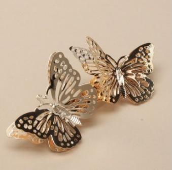 barrette papillons dorés