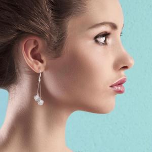 Boucles d oreille pendante pour femme argent cube diamant image 2019