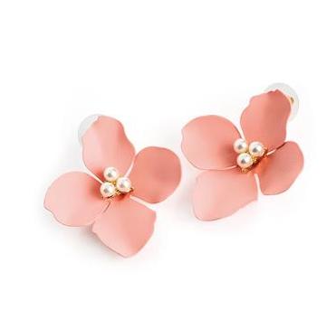Boucles d oreilles a clips en forme de rose