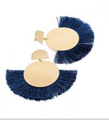 Boucles d'oreilles éventail à franges bleu nuit