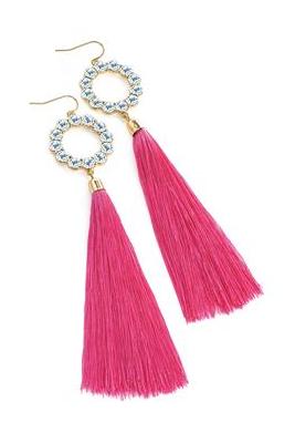 Boucles d'oreilles diamant et pompon rose fushia