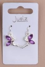 Boucles d'oreilles fée clochette violette.