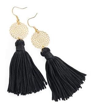 Boucles d'oreilles pendantes à cordelettes noires