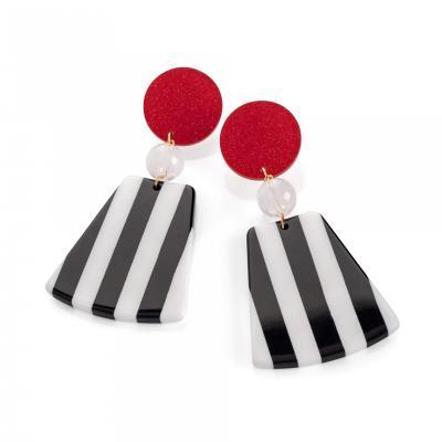 Boucles d'oreilles pendantes rouge noir et blanc