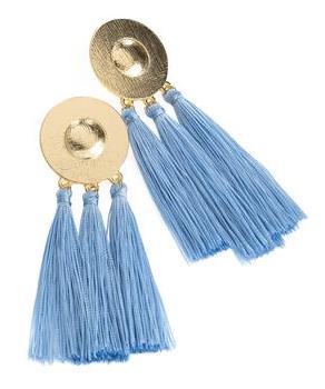 Boucles d oreilles pompon bleu