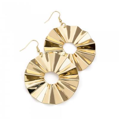 Boucles d'oreilles fantaisie ronde en or