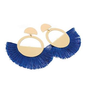 Boucles d'oreilles à franges bleu roi