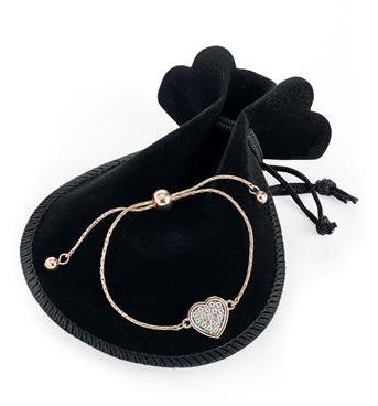 Bracelet ajustable pendentif coeur diamant