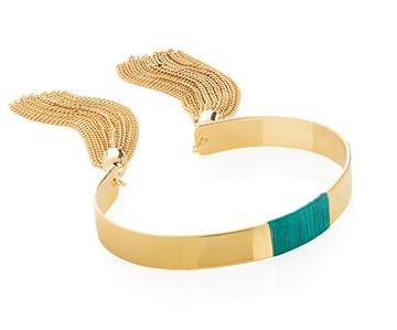 Bracelet avec pompon en chaîne dorée