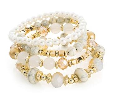 Bracelet de perles blanc et or