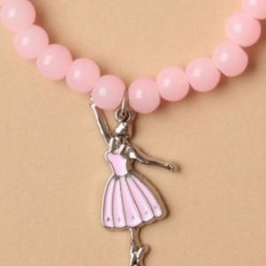 Bracelet de perles rose pendentif ballerine