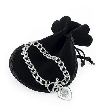 Bracelet en argent avec pendentif coeur