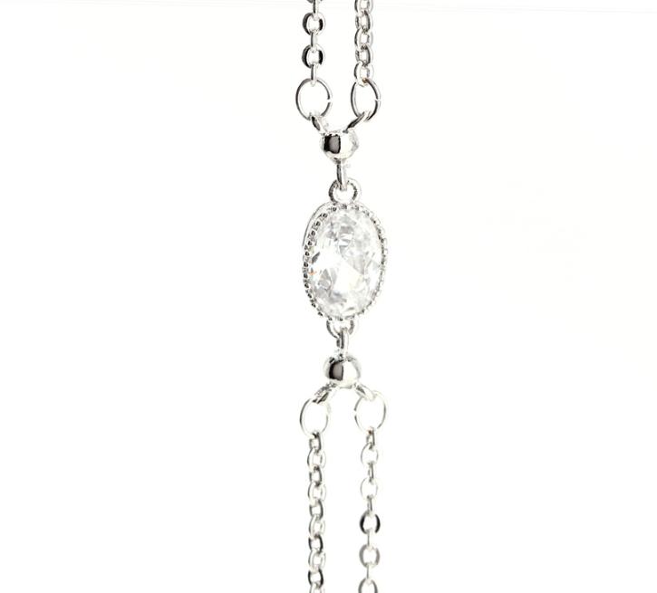 Bracelet fantaisie double chaine argente 1
