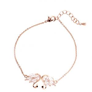 Bracelet fantaisie femme en or rose avec pendentif cygne image 2019