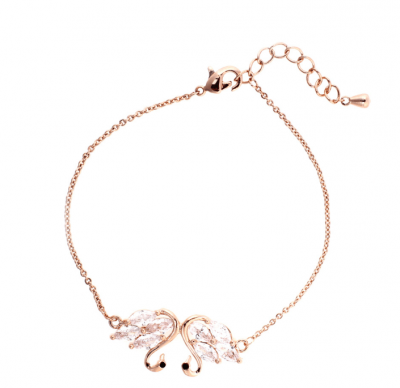 Bracelet femme en or avec pendentif cygne.