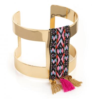 Bracelet large avec pompon coloré