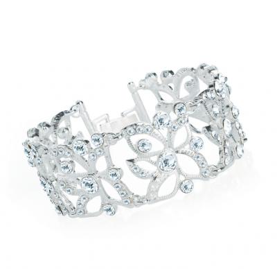 Bracelet fantaisie cristal de couleur argentée