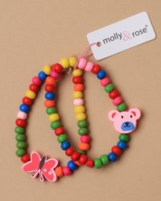 Lot de deux bracelets fille en perles de bois.