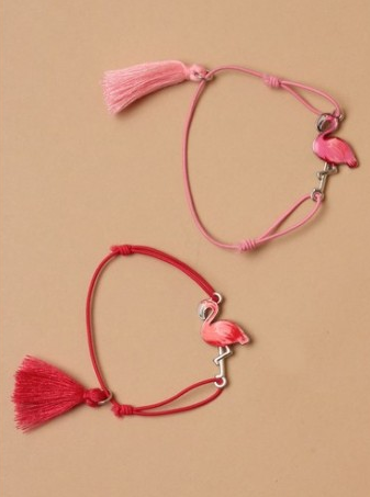 Bracelet flament rose rouge et rose