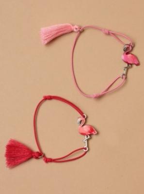 Bracelet flamant rose et pompons