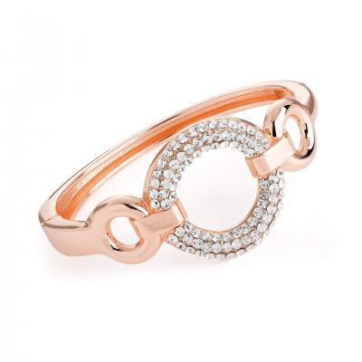 Bracelet jonc en or rose avec strass