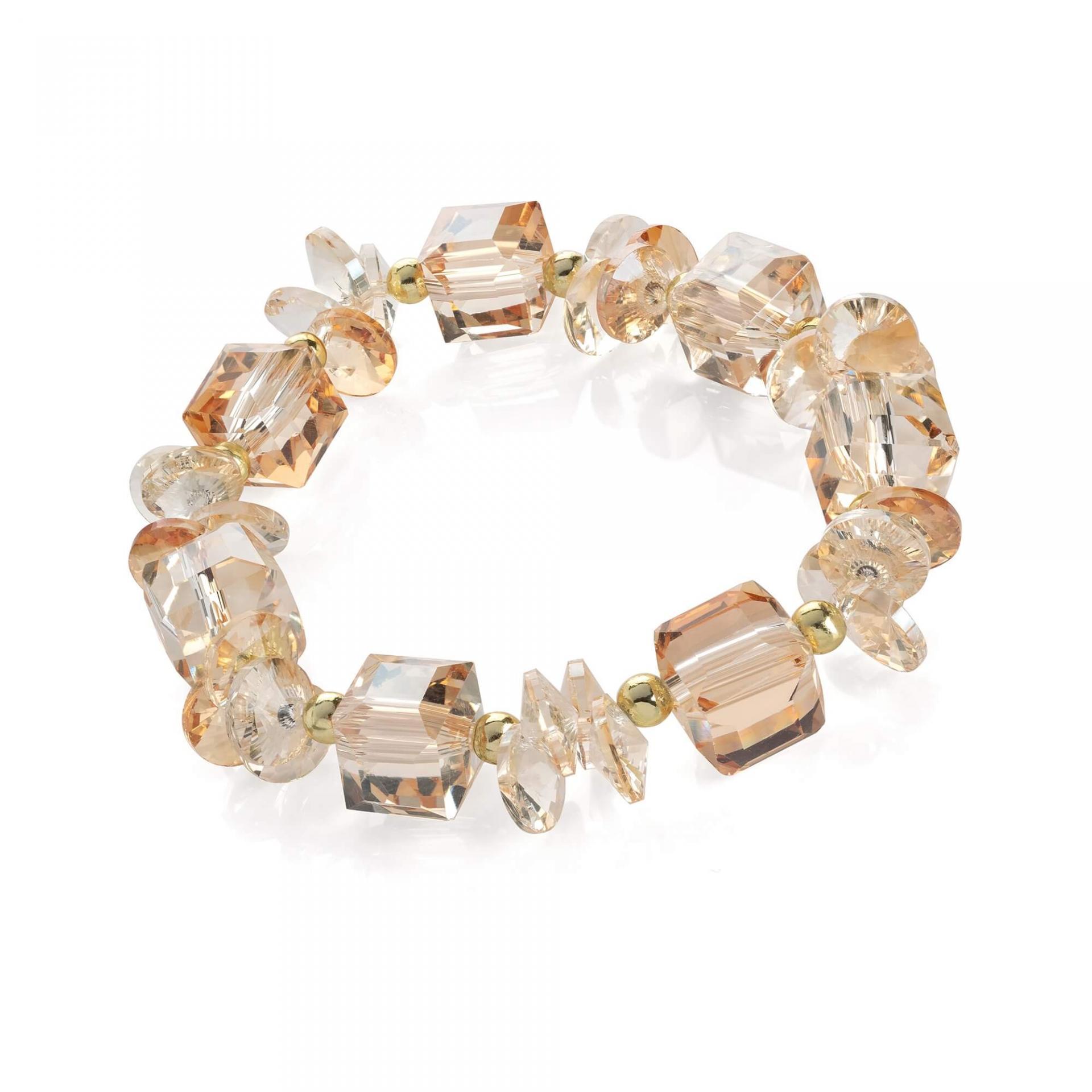 Bracelete fantaisie elastique de perles de verre champagne 1