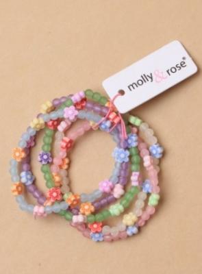 Lot de cinq bracelets fleuris