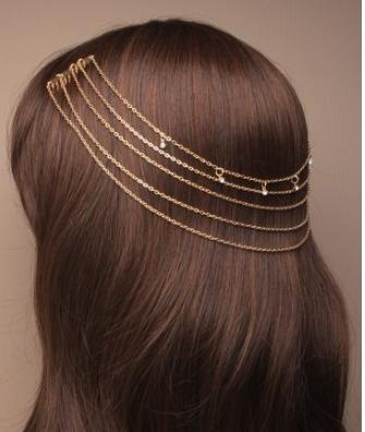 Chaine de cheveux dore avec diamand 1