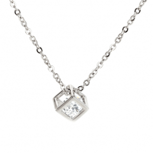 Chaine en argent avec pendentif cube diamant image 2019
