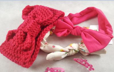 Coffret bébé fille - fushia et crème - accessoires cheveux