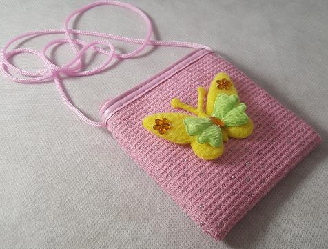 Coffret fille fleurs et paillons rose et jaune le sac a main bandouliere