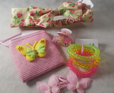 Coffret fille - fleurs et papillons jaune et rose - accessoires