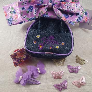 Coffret fille fleurs et papillons violet les accessoires de mode