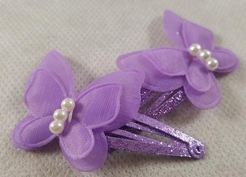Coffret fille fleurs et papillons violet les barrettes a cheveux