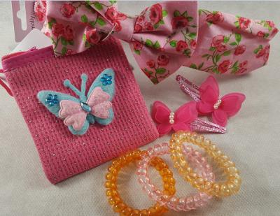 Coffret fille - fleurs et papillons fushia et orange - mode fille