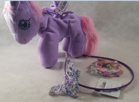 Coffret fille sac a main poney violet