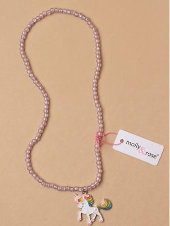 Collier de perles fille breloque licorne