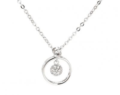 collier argenté pendentif double cercle