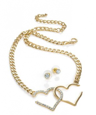 Collier femme deouble coeur or