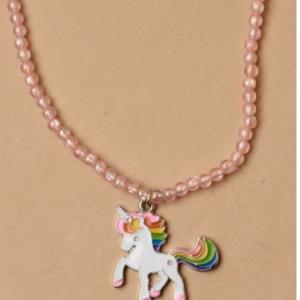 Collier rose fille pendentif licorne