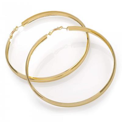 Boucles d'oreilles créoles large en métal doré