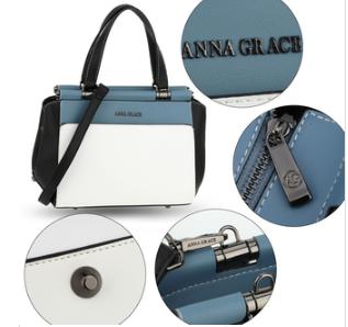 Sac bandoulière design bleu noir et blanc avec fermeture zippée