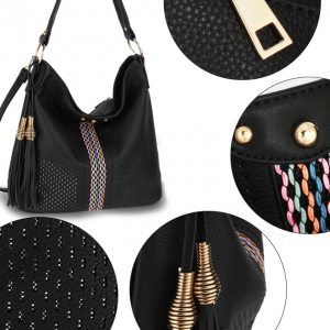 Details grand cabas femme boheme chic noir image 2019