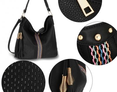 Grand sac cabas pour femme style bohème chic noir