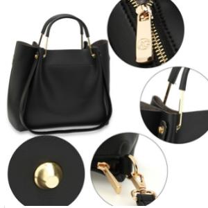 Details sac cabas noir femme