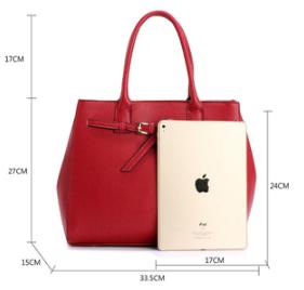 Dimension sac a main fourre tout rouge